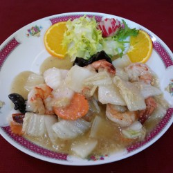 crevettes sautées aux légumes