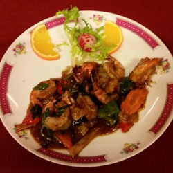 crevettes aux basilics thaï
